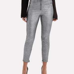 RtA Madison Front Zip Silver Metallic Skinny Jeans